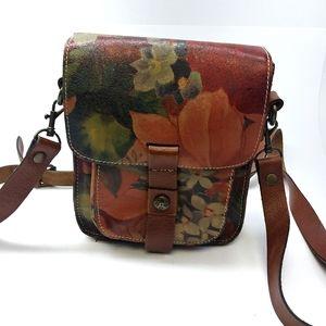 Patricia Nash Leather Floral Print Crossbody Bag